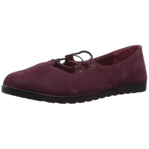 Easy Street Effie Flats Burgundy Corset Lace-Up 6W